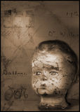 Dolls head. Still life of dolls head old letter and medicine bottles royalty free stock photo