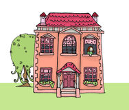 Dolls' home. A pink country home; digital colors Stock Photo