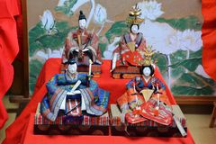 The dolls of Japan. Festive wish for girl`s happiness and growth, held three days in March every year Stock Photos