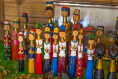 Dolls of Long Neck Karen hill tribe. Karen Long Neck Villages in Chiang Rai, Thailand. stock photo