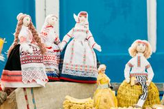 Dolls made of cloth. Souvenirs from Belarus. Folk Belarusian souvenirs. Dolls made of cloth in the national Belarusian dress Stock Image