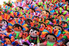 Dolls at Mexican craft market Royalty Free Stock Photo