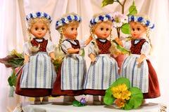 Dolls in Prussian folk costumes. Doll in Prussian folk costume. Craft Stock Photo