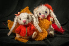 Dolls rabbits in orange sweater. Sitting on the flower stock photos
