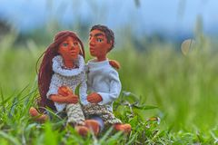 Dolls rendezvous among the high grass Stock Photography