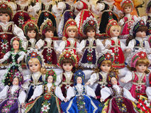 Dolls on sale. Made in Eastern Europe. Toys Royalty Free Stock Photo