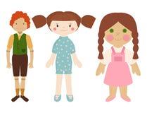 Dolls toy character game dress and farm scarecrow rag-doll vector illustration. Pretty underwear little halloween wardrobe model style stock illustration