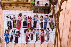 Dolls in traditional Romanian port stock image