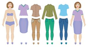 Dolls woman and collection of clothes, vector. Stock Photo