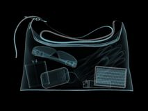 Dolly-bag in x-ray. X-ray photography of womans handbag Royalty Free Stock Photography