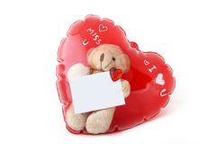 Dolly bear in heart balloon with blank card isolat Royalty Free Stock Image