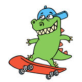 Dolly cartoon dragon in a cap rides on a skateboard. Vector illustration. Stock Photo