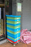 Dolly Crates. Plastic Crates Shipping Delivery at Dolly Cart Royalty Free Stock Photo