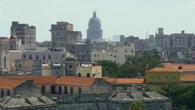 Dolly Establishing Shot of Capitol Dome in Havana Cuba. 8921 A high angle dolly establishing shot of the capitol dome in the old town section of Havana, Cuba stock footage