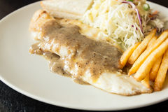 Dolly Fish Steak with Black Pepper Sauce Royalty Free Stock Photography