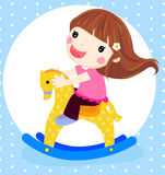 A dolly girl on rocking horse Royalty Free Stock Photo