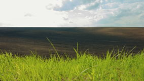 DOLLY MOTION: Black plowed and green fields under. Sky. 4K RAW video record stock video footage