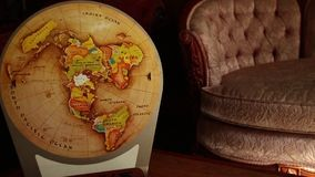 DOLLY MOVE INTO VINTAGE RETRO MAP: Move in to map, settle closer stock video footage