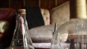DOLLY MOVE VINTAGE TEST TUBES & BEAKERS: Variation #2 stock video footage