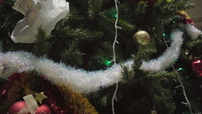 Dolly of ornaments on a Christmas tree stock video
