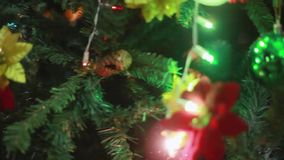 Ornaments and balls on a Christmas tree. 1920x1080 stock video footage