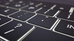 Dolly schot van zwart lichtgevend computertoetsenbord en inspireer sleutel Conceptuele 4K klem royalty-vrije illustratie