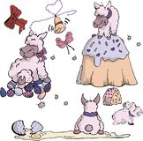 Dolly Sheep Easter Set stock de ilustración