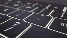 Dolly shot of black luminous computer keyboard and identify key. Conceptual 4K clip vector illustration
