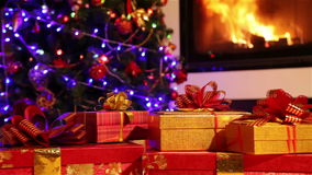 Dolly shot of a Christmas gifts closeup stock footage