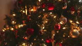 Dolly shot  Christmas Tree Ornaments stock video