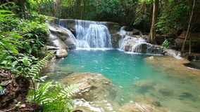 Dolly shot of deep forest waterfall, Kanchanaburi, Thailand