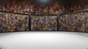 Dolly in shot of empty mixed martial arts fight ring - 3D Animation of MMA Cage