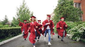 Dolly shot of excited grads running on campus wearing gowns and traditional hats celebrating end of studies. Higher