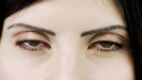 Dolly shot from eyes to closeup of beautiful woman with green eyes Royalty Free Stock Images
