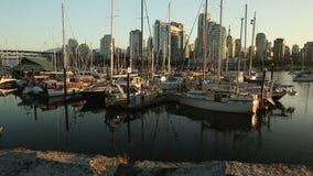 Dolly shot False Creek Marina Sunrise stock footage