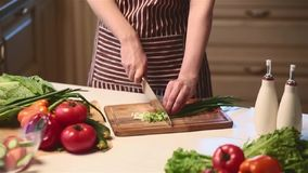 Dolly shot of female hands cutting vegetables in kitchen stock footage