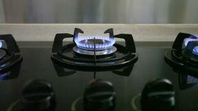 Dolly shot of gas stove stock video footage