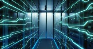 Interior of a futuristic data center