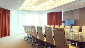 Dolly shot of light conference room