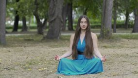 Dolly shot of meditating woman in park, beautiful long haired female inner peace. Stock footage stock video