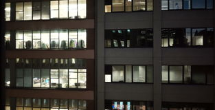 Dolly shot of office from opposite block stock footage