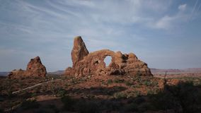 Dolly Shot of Turret Arch in Arches National Park stock video