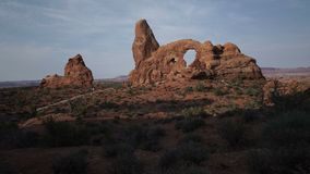 Dolly Shot of Turret Arch in Arches National Park stock video footage