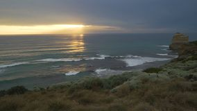 Dolly shot of the wood walk at sunset in Twelve Apostles, Australia stock video