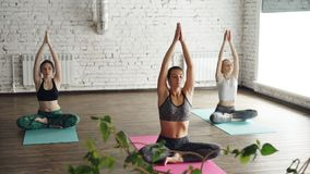 Dolly shot of yoga students practicing twist poses then relaxing in lotus position with hands in namaste. Large green