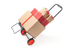 Dolly Truck with Several Boxes Royalty Free Stock Photography