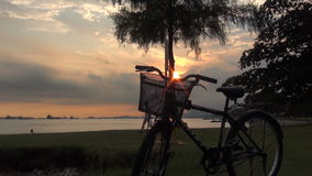 Dolly view of sun set in singapore east coast park Stock Photography