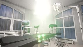Dolly zoom background of modern operating room at hospital stock footage