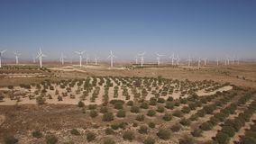Dolly zoom over running windmill farm and trees stock video