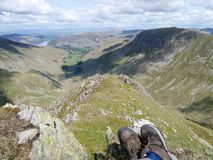 Dollywagon Pike Tongue with boots of walker resting Royalty Free Stock Photos